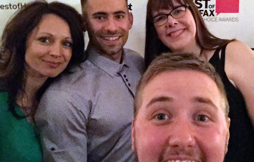 My best buddy Kathy, Pat Busby (owner of ProEdge and Silver winner for Best Gym), me, and the Photographer who jumped in on our selfie.